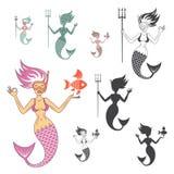 Sirenas fijadas ilustración del vector