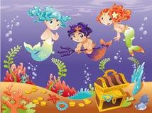 Sirenas y bebé Tritón del bebé con el fondo. Foto de archivo