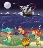 Sirenas y bebé Tritón del bebé bajo el mar. Fotos de archivo libres de regalías