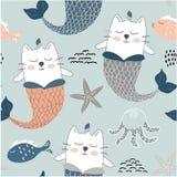 Sirene sveglie del gatto dell'unicorno modello senza cuciture puerile per tessuto, tessuto Illustrazione di vettore illustrazione vettoriale