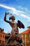 Sirenemonument, Oude Stad in Warshau, Polen Royalty-vrije Stock Afbeelding