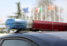 Sirenen des Polizeiwagens in Italien Lizenzfreies Stockfoto