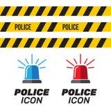 Sirenereeks Politieflitser of ziekenwagenflitser Sirenepolitie lig Stock Afbeelding