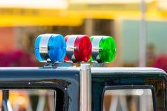 Sirenes azuis, vermelhas e verdes Imagem de Stock Royalty Free