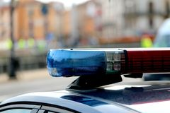 sirenes van politiewagens tijdens de patrouille Royalty-vrije Stock Foto