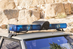 Sirens and lights of an old police car Royalty Free Stock Image