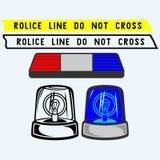 Sirenuppsättning Polisen tejpar, blinkern eller ambulansen Arkivfoton