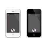 Siri em um iPhone 4 S de Apple Fotografia de Stock