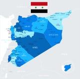 Siria - mapa y bandera - ejemplo detallado del vector Fotos de archivo libres de regalías