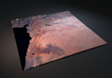 Siria, visión por satélite, mapa, sección 3d, Oriente Medio Fotografía de archivo