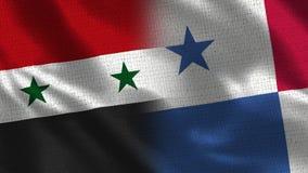 Siria y Panamá - bandera dos junto - textura de la tela fotografía de archivo