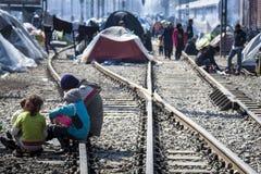 Sirian-Flüchtlinge blockiert in Idomeni Lizenzfreies Stockfoto