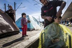 Sirian-Flüchtlinge blockiert in Idomeni Stockbilder