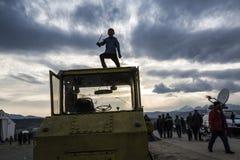 Sirian-Flüchtlinge blockiert in Idomeni Stockfotografie