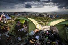 Sirian-Flüchtlinge blockiert in Idomeni Stockbild