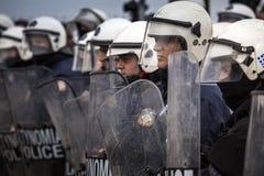 Sirian flyktingar som blockeras i Idomeni Royaltyfria Bilder