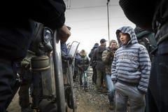 Sirian refugees blocked in Idomeni Royalty Free Stock Images