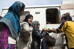 Sirian refugees blocked in Idomeni Royalty Free Stock Photography