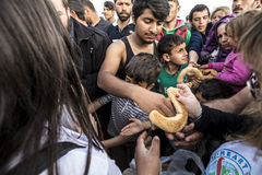 Sirian refugees blocked in Idomeni Royalty Free Stock Photography