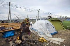 Sirian refugees blocked in Idomeni Stock Image