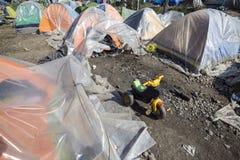 Sirian refugees blocked in Idomeni Stock Images