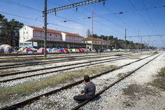 Sirian refugees blocked in Idomeni Royalty Free Stock Image