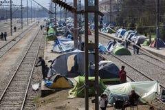 Sirian refugees blocked in Idomeni Stock Photography
