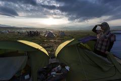 Sirian refugees blocked in Idomeni Stock Photo