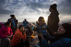 Sirian refugees blocked in Idomeni Royalty Free Stock Image