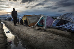 Sirian refugees blocked in Idomeni Stock Photography