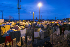 Sirian refugees blocked in Idomeni Stock Photos