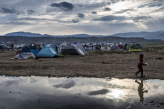 Sirian refugees blocked in Idomeni Stock Images
