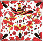 Sirin ornament painting. Painting after the nineteenth century Russian Permogor style traditional motif with bird character called Sirin. Gouache on paper Stock Images