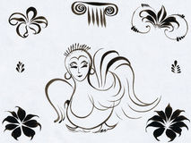 Sirin sketch with elements Royalty Free Stock Photo