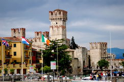 Sirione, Italy: Scaligers' Castle and Quay Royalty Free Stock Photos