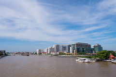 Siriraj hospital from the bridge under blue sky. BANGKOK, THAILAND - SEPTEMBER 21, 2014: Siriraj hospital is the first hospital and medical shool in Thailand Royalty Free Stock Images