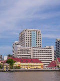 Siriraj hospital under blue sky. BANGKOK, THAILAND - SEPTEMBER 21, 2014: Siriraj hospital is the first hospital and medical shool in Thailand, placed at the West Royalty Free Stock Photos