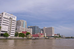 Siriraj hospital under blue sky. BANGKOK, THAILAND - SEPTEMBER 21, 2014: Siriraj hospital is the first hospital and medical shool in Thailand, placed at the West Royalty Free Stock Photo