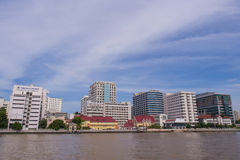 Siriraj hospital under blue sky. BANGKOK, THAILAND - SEPTEMBER 21, 2014: Siriraj hospital is the first hospital and medical shool in Thailand, placed at the West Stock Image