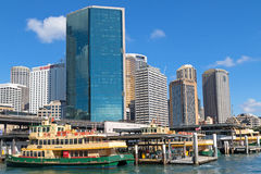 Sirius ferry docking in front of Circular Quay Railway station s Stock Photos