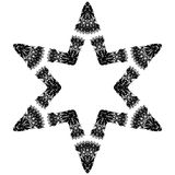Sirius Glyph. Simple 6 point b&w line art star symbol Royalty Free Stock Images