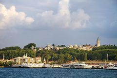 Sirkeci port, Istanbul. Harbor and Topkapi palace in Istanbul seen from above Stock Image