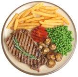Sirloin Beef Steak Dinner Isolated on White Stock Images