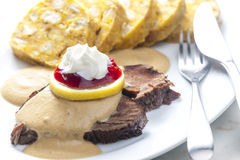 Sirloin on cream Royalty Free Stock Images