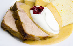 Sirloin in cream sauce Royalty Free Stock Images