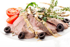 Sirloin in mustard sauce Royalty Free Stock Photo