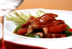 Sirloin pork. Sauteed pork sirloin with hoisin sauce stock photography