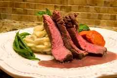 Sirloin with Port Wine Sauce Stock Images
