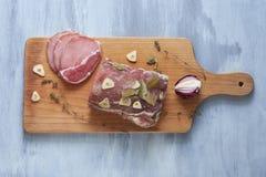 Sirloin salt and spices. Sirloin salt with spices on a wooden cutting board Stock Photos