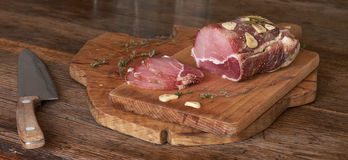 Sirloin salt and spices. Sirloin salt with spices on a wooden cutting board Stock Images
